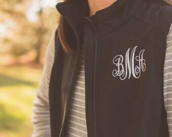 Monogram Vest | Monogrammed Soft Shell Vest | Womens Vest | Lightweight Vest | Personalized Vest | Zip Up | Gift for Her | Gifts under 50