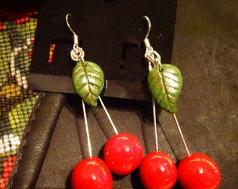 ON SALE Polymer clay red cherry earrings