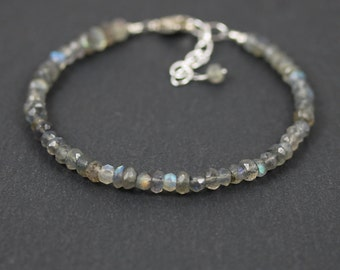 Labradorite Beaded Stacking Bracelet in Sterling Silver, Rose or Gold Filled. Flashy Blue AAA Gemstone Bracelet. Dainty Layering Bracelet