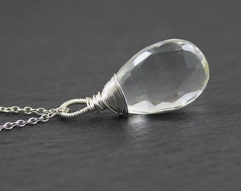 Large Natural Rock Crystal & Sterling Silver Pendant. Healing Necklace. Genuine Clear Quartz Gemstone. Wire Wrapped Jewelry. Jewellery