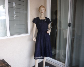 1950's Vintage Dress ~ Perfect Navy Blue Lace Dress With Satin Detail And Rhinestone Pin ~ Gloria Swanson by Forever Young ~ Size 8
