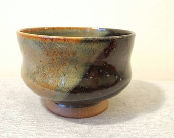 Handmade Two-Tone Blue and Black Tea Bowl, Gas-Fired Red Stoneware