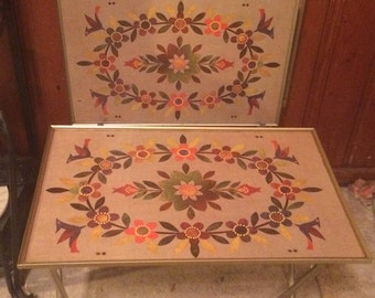Set of 4 Metal TV Trays with Holder