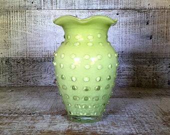Vase Glass Vase Green Vase Bubble Glass Flower Vase Mid Century Glass Vase Glass Art Vase Unique Vase Cottage Chic Decor Gift for Her