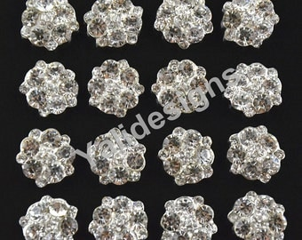 Set of 10pcs 18mm Metal Sparkly Rhinestone Flower Brooch-Flower Crystal Style- Children Headbands or Hair Clips-YTB58
