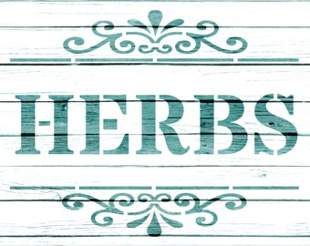 Re-usable Mylar Stencil HERBS,  Furniture, Fabric, French, Vintage, Shabby Chic