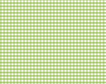 Riley Blake green gingham fabric, 1/8 inch green gingham fabric by the yard, gingham sewing quilting apparel fabric, lime green small check