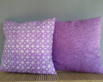 Pair Of Pillow Covers Purple Pillows Shabby Chic Mix Match Lavender Scatter Pillow Indonesian Handprinted Batik Country Style Gift For Aunt