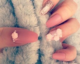 FALSE NAILS - Matte Pink Floral - Stick On - The Holy Nail UK