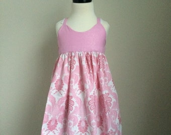 The Olivia Dress - Pink Sparkle and Damask - Size 4 - Ready to Ship