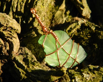Green Sea Glass with Copper wire Necklace