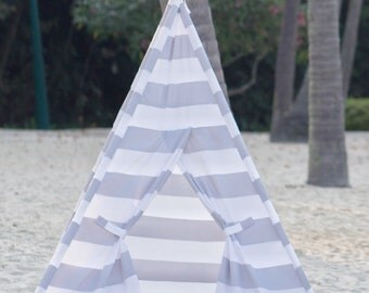 Kids Play Tent Teepee Handmade in Grey/Gray and White Stripe Designer Cotton Fabric.
