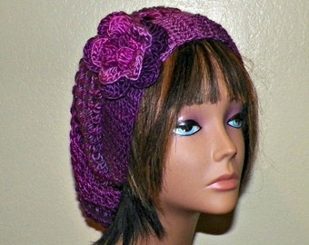 On Sale- Purple Slouchy Hat Womens Crochet Summer Winter Hippie Tam Beret Boho Mesh Open Weave  Rose Flower Beanie Rasta