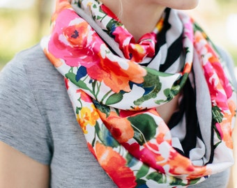 Infinity Scarf- Black and white stripe with floral