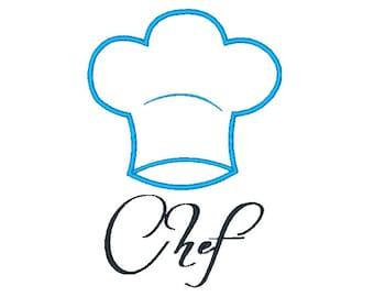 Chefs Hat Applique Machine Embroidery Design 120514 Kitchen Applique 4X4 5X7 8X8 6X10 Instant download
