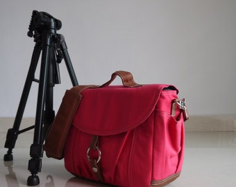 New Year SALE 30% - Koi-S  Rose Pink - Canvas Camera Bag/ Dslr Bag / Camera Bag/ Camera Messenger Bag/ Digital Camera Bag / dslr camera bag