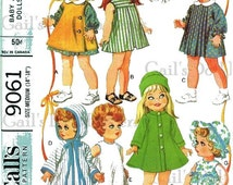 """PDF Copy of Vintage McCall's 9061 Doll Clothes Pattern to Fit Medium Dolls 14"""" to 18""""."""