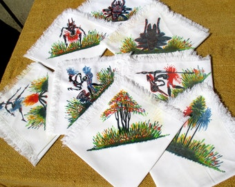 Set of  80s 'African' napkins, 8 French fine cotton napkins with African scenes