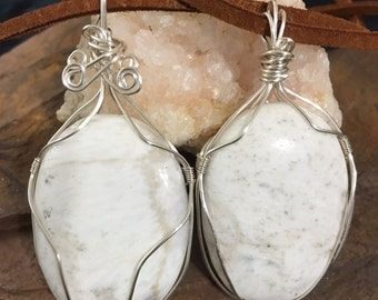 White Scolecite Necklace, Bohemian Wire Wrapped Scolecite Necklace, Scolecite Jewelry, Stones for Inner Peace, Zeolites