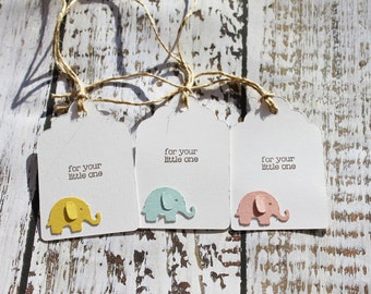 Gift tags for babies, gift tags for birth of baby, gift tags for baby shower, baby elephant