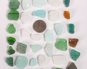 Genuine sea glass, 40 pieces of natural light green,teal, white, broun and light blue sea glass, glass decor, aquarium glass, mosaic glass