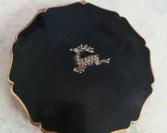 Black vintage Stratton compact with marcasite deer