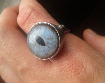 Hand Painted Glass Cat Eye Ring, size 8