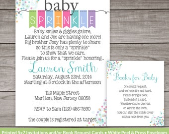 Printed Gender Neutral Baby Sprinkle Invitations With a Flag Banner and Poem 4x6 or 5x7 Gender Neutral Baby-110