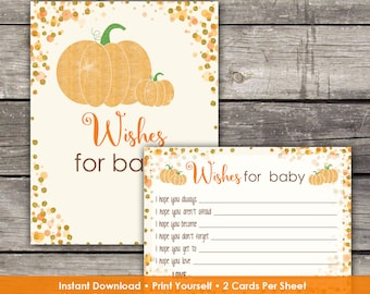 Pumpkin Baby Shower Wishes for Baby Cards - Baby Wishes - Fall Baby Shower Game Baby-248