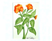 Hibiscus, Original 5x7 Painting in Soft Greens and Bright Oranges, 8x10 Matted, Ready to Frame