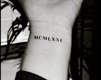 Roman numeral tattoos custom tattoos temporary tattoos fake tattoos