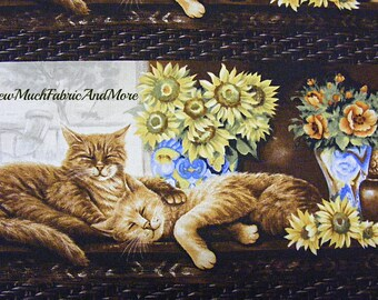 Cat Nap Fabric~RJR Fabrics~by the yard~Animals~ Kittens~orange tabby cats~Flowers~Floral~striped~Tabbies