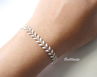 White Fishbone bracelet in gold, Geometric, Fish bone bracelet,  Everyday jewelry, Bridesmaid jewelry, Wedding bracelet