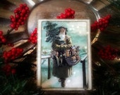 """Vintage Primitive Santa with Tree and Toys Holiday Ornament & Display Easel, Mixed Media Collage, Handmade OOAK 3 1/8"""" x 4 1/8"""""""