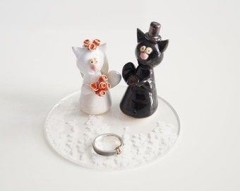 Wedding Cake Topper, Cat Cake Topper, Ceramic Cake Topper by Her Moments