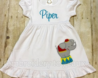 Personalized Girl's Circus Elephant Ruffle Dress--Girl's Circus Outfit--Circus Birthday Dress--Girls Birthday Outfit
