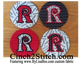 """Monogrammed Coasters with recycled CDs - 100% In The Hoop - Machine Embroidery Design Download (5"""" x 7"""" Hoop)"""