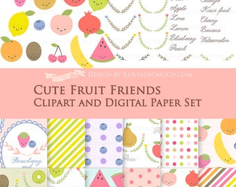 30% off Cute Fruit Friends / Fruit Clip Art + Digital Paper Set / Fruit Clipart / Fruit Digital Paper - Instant Download