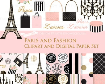 30% off Paris Fashion Clip Art + Digital Paper Set / Paris Clipart / Paris Digital Paper - Instant Download