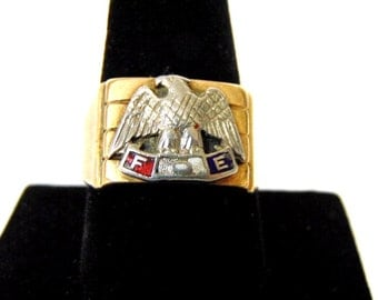 Mens Vintage Estate 10k Gold Army Air Corp Military Ring 10.1g E2250