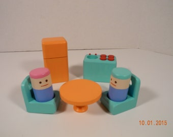 Wooden Doll House Furniture with a Wooden family of 4