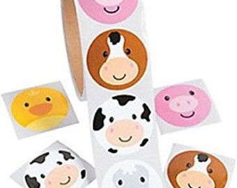 100/ My Little Farm party stickers /party favors/ farm party favors/ Farm stickers