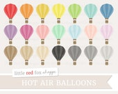 Hot Air Balloon Clipart, Travel Clip Art Party Vintage Wedding Label Hand Drawn Shape Cute Digital Graphic Design Small Commercial Use