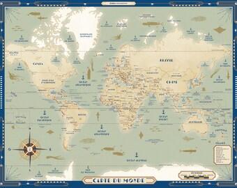 Sea map, world map, mappemonde