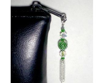 Beaded Zipper Pull With Silver Chain Tassel, Zipper Charm, Green Glass Silver Mesh Bauble, Purse Embellishment, Clutch Adornment, Bag Bling