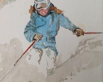 "Unframed ""Skiing Woman"" 10"" x 8"""