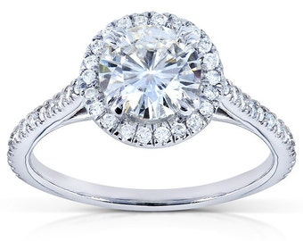 Forever One Round Moissanite and Diamond Engagement Ring 1 1/4 CTW in 14k White Gold