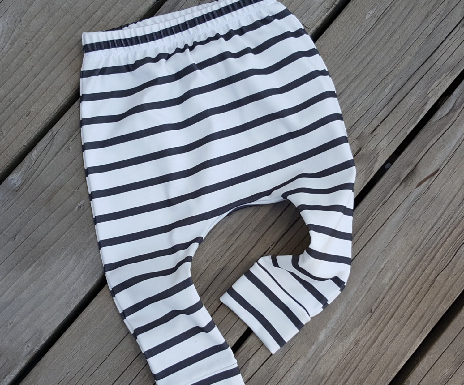 Clearance Sale Black And White Stripe Baby Harem Pants Organic