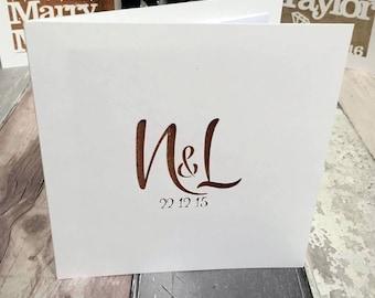 Simple Papercut Initials Anniversary Wedding Engagement Card