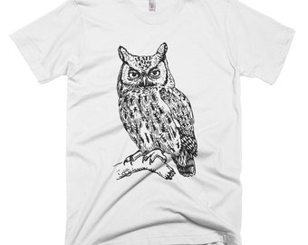Owl, King of the night, Owl on branch - American Apparel Fine Jersey Short Sleeve Men T-Shirt - Made in USA